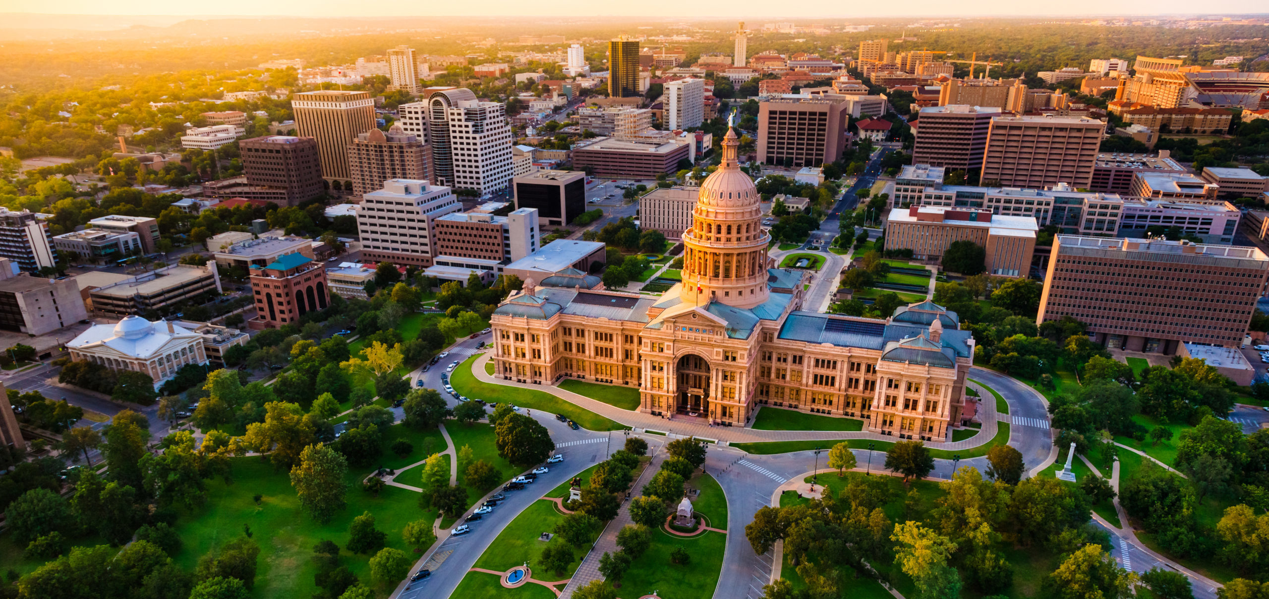 aerial view of Texas Capitol